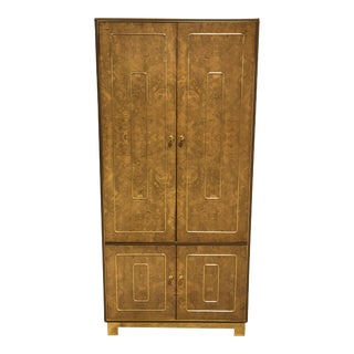 Vintage Romweber Burled Wood and Brass Armoire Dresser For Sale