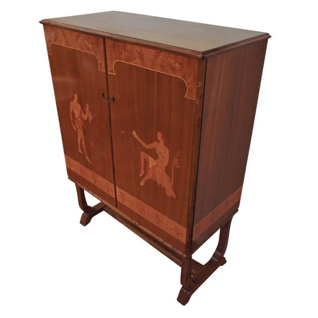 Art Deco Tempting Mjolby Intarsia Bar Cabinet From Sweden, Circa 1920s For Sale - Image 3 of 7