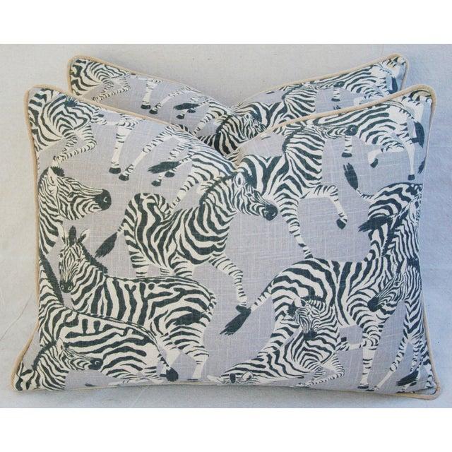 """Custom Safari Zebra Linen & Velvet Down/Feather Pillows 24"""" x 18"""" - Pair For Sale In Los Angeles - Image 6 of 11"""