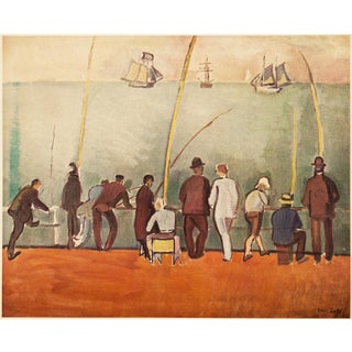 """1954 Raoul Dufy """"Fishermen With Lines"""", First Edition Lithograph For Sale"""