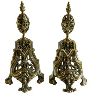 Pair of Polished Brass Chenet or Andirons, Egg Shape Finial Motif, 19th Century For Sale