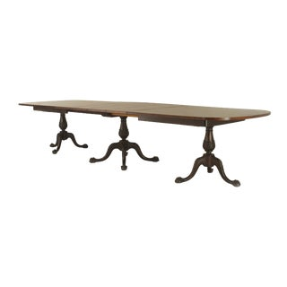 19th Century Chippendale Triple Pedestal Base Dining Table For Sale