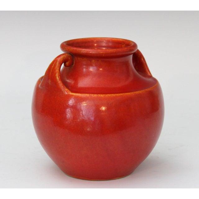 Awaji Pottery Art Deco Vase in Crystalline Chrome Red Glaze For Sale - Image 4 of 10