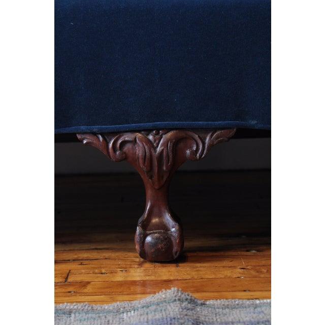 Vintage Navy Velvet Chippendale Sofa For Sale - Image 6 of 7
