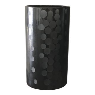 Mid - Century Modern Black Dotted Glass Vase