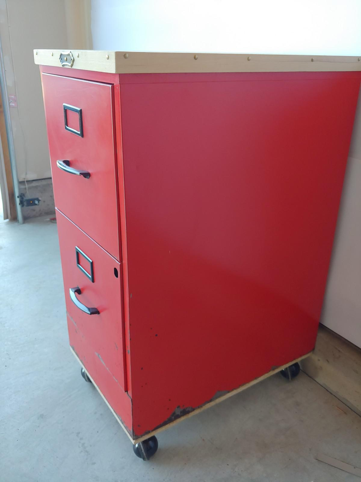 Superbe Vintage Super Roller Metal 2 Drawer Rolling Red File Cabinet   Image 4 Of 13