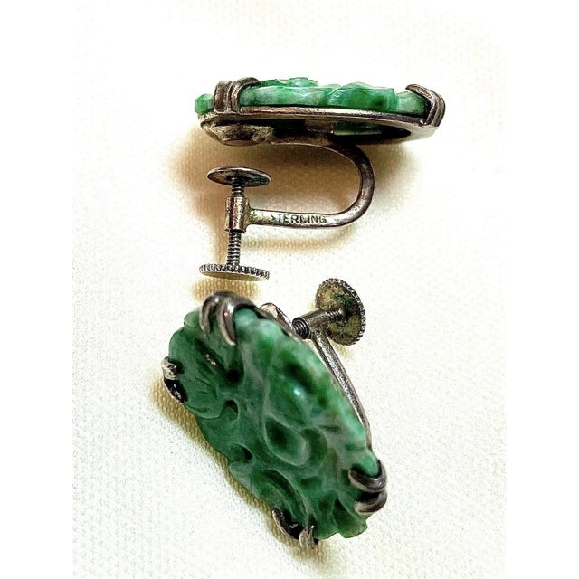 1930s Carved Jade and Sterling Screw Back Earrings For Sale - Image 4 of 7