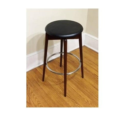 Mid Century Modern Walnut & Chrome Bar Stool Stool is in excellent condition! Beautiful finish and very sturdy! Measures...
