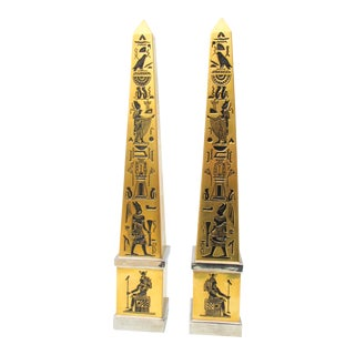Boehm Porcelain Gilt Oblisks From Tutankhamen - a Pair For Sale