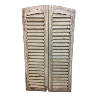 Vintage Cottage White Wood Shutters - A Pair For Sale