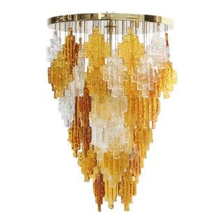 Albano Poli for Poliarte Italian Midcentury Murano Glass Flush Mount Chandelier For Sale