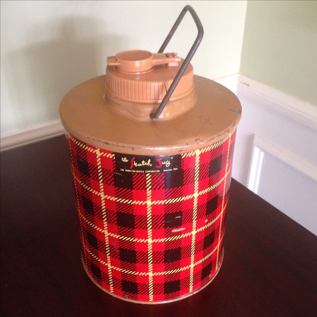 Vintage Plaid Metal Cooler Thermos - Image 3 of 11