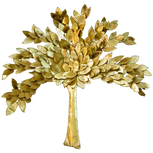 Golden Colored Wall Sculpture of a Tree by Curtis Jere, Artisan House For Sale In West Palm - Image 6 of 6