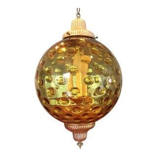 Stunning 1970's Vintage Amber Glass Globe Pendant Lamp For Sale