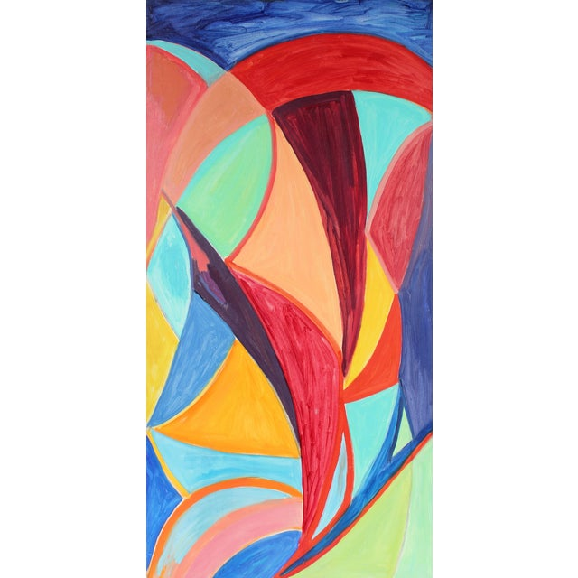"""Georgette London Owens """"Indian Love Song"""" Large Abstract Cubist Oil Painting For Sale"""