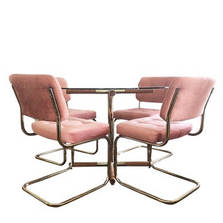 1980s Vintage Cal-Style Cantilever Milo Baughman Style Pastel Pink Dining Set Brass Legs and Table Base With Glass Top For Sale