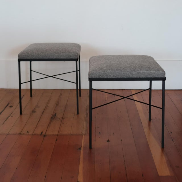 Mid-Century Modern Pair of Iron X-Base Ottomans, 1950s For Sale - Image 3 of 8