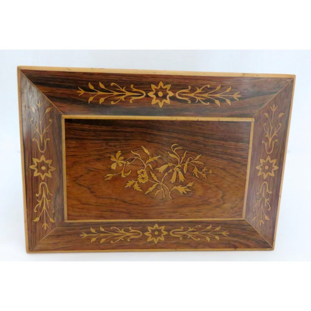 19th Century Victorian Rosewood Marquetry Sewing Box For Sale - Image 4 of 13