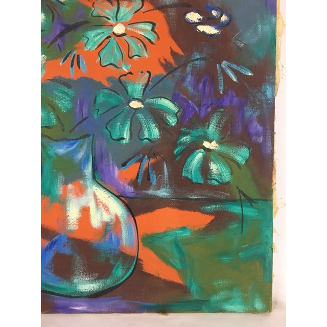 1960s 1960s Vintage Original Haitian Floral Still Life Oil Painting by Listed Artist Paul Beauvoir For Sale - Image 5 of 13