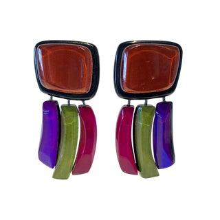 Vintage Architectural Square Black Plexiglass Designer Statement Earrings For Sale