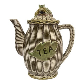 1930s Creamware Basketweave Ceramic Tea Pot For Sale
