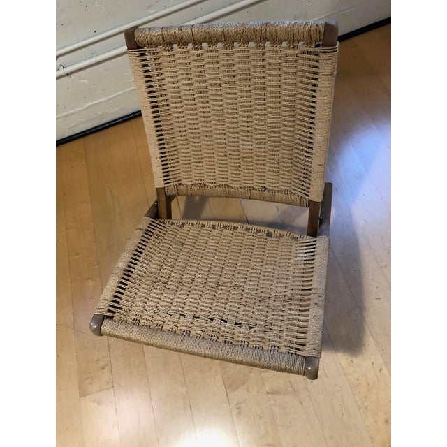 Rope 1960's Danish Modern Folding Rope Chair & Ottoman - 2 Pieces For Sale - Image 7 of 10