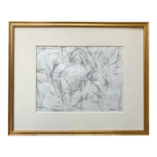 Vintage Mid Century Figurative Abstract Drawing by Harold Davies For Sale