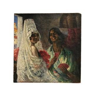 Vintage Mid-Century Mme J De Montunol Spanish Oil Painting For Sale