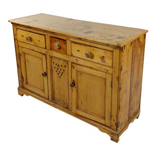 Vintage Country Farm Pine Cabinet Server For Sale