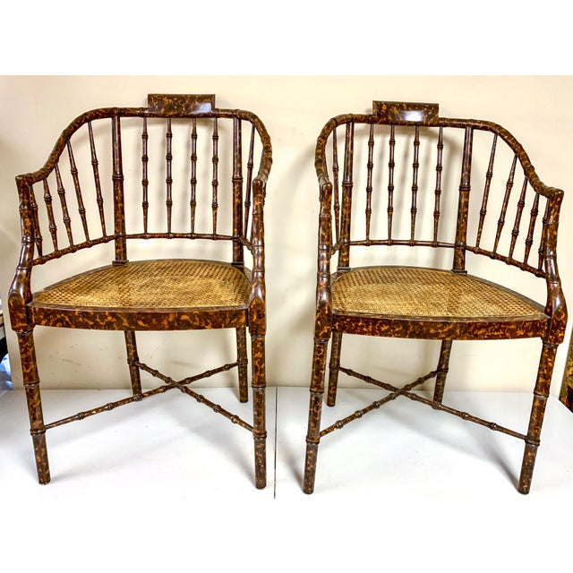 Traditional Baker Furniture Faux Tortoise Barrel Back Chairs-Pair For Sale - Image 3 of 9