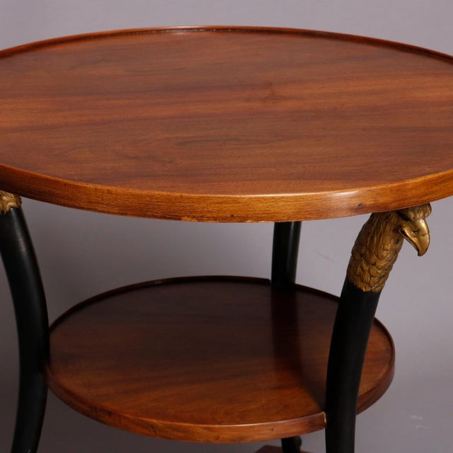 1930s Vintage French Empire, Figural Ebonized & Gilt Mahogany Lamp Stand For Sale - Image 5 of 10