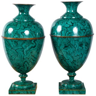 1980s Contemporary Maitland Smith Faux Malachite Urns - a Pair For Sale