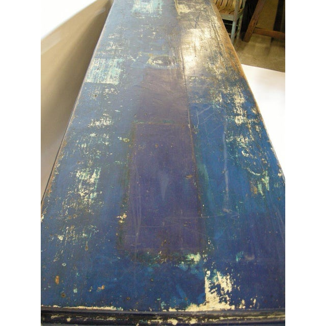 Blue Antique Painted Blue Shop Counter With Glass Front For Merchandise Display For Sale - Image 8 of 11