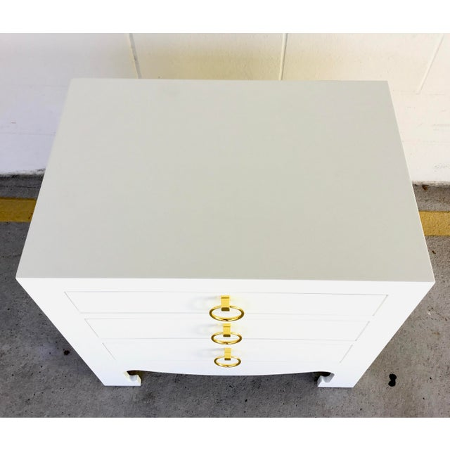 2010s Bungalow 5 Modern White Lacquer Finished Three Drawer Side Table For Sale - Image 5 of 7