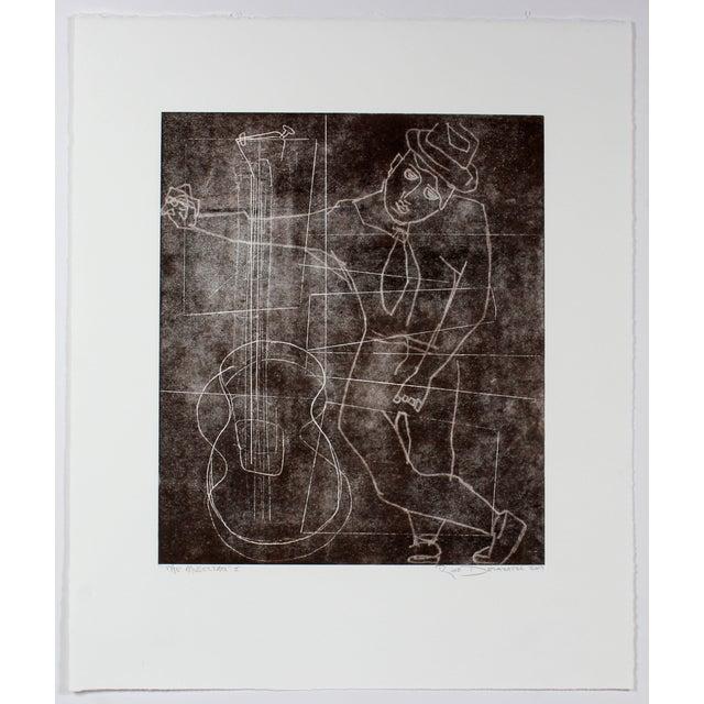 "R. Delamater ""The Musician I"" Original Monotype - Image 2 of 2"