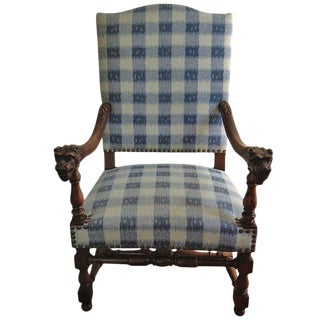 Walnut French Armchair in Brunschwig Fabric