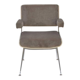 1950s Vintage Alain Richard White Lacquer and Chrome Armchair For Sale