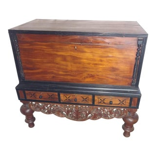 Pettagama 1920 Teak and Ebony Dowry Chest For Sale