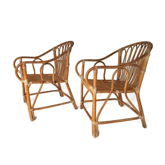 Mid-Century Bamboo Chairs Franco Albini Style Arm Chairs - a Pair - Image 2 of 6