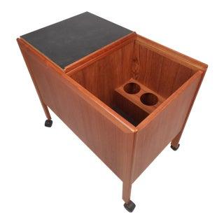 Teak Bar Cart With Folding Tabletop For Sale