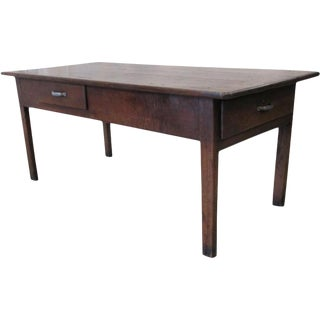 Antique French Farm Table With Drawers