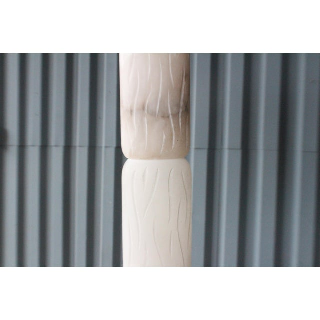 Carved Alabaster Floor Lamp, Italy, 1970s For Sale - Image 4 of 9