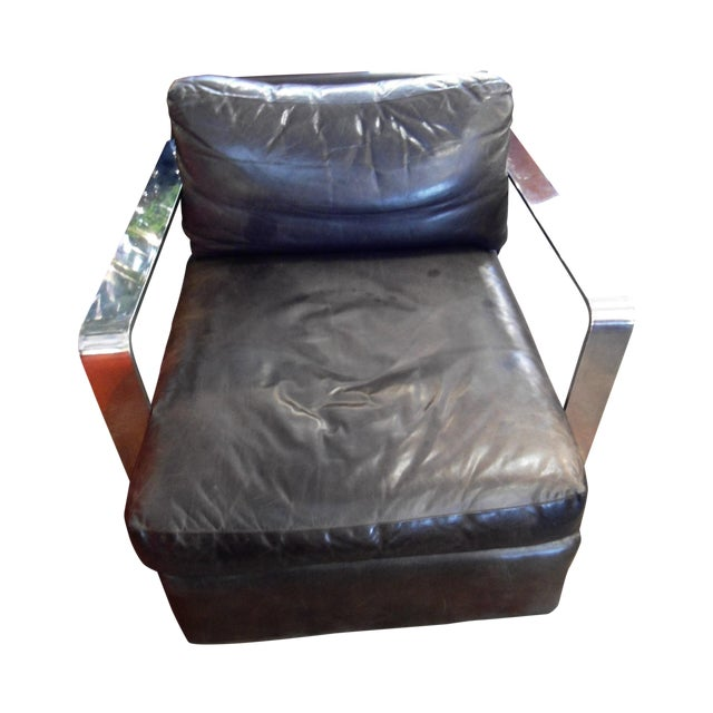Ralph Lauren Black Saddle Leather Chair - Image 1 of 6