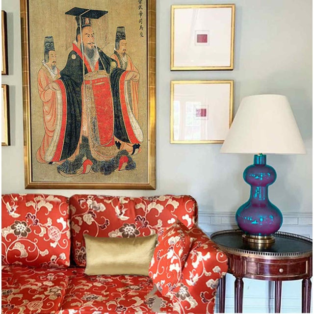 Stunning Vintage Mid Century Era Hollywood Regency Style Red Chinoiserie Sofa. Original fabric printed with ming syle...
