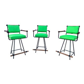 Mid Century by Cleo Baldon Wrought Iron Stools - Set of 3 For Sale