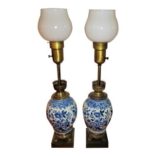 Pair of Antique Blue and White Porcelain Table Lamps - Rare