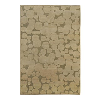 Beige Circle Patterned Area Rug For Sale
