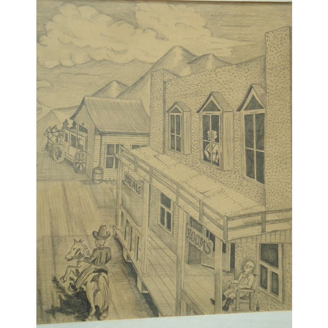 """Vintage Bob Everett """"Centennial Before the Storm"""" Drawing For Sale - Image 5 of 7"""
