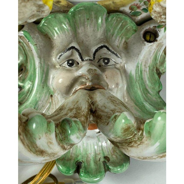 19th Century 19th Century Italian Porcelain Sconces With Faces - a Pair For Sale - Image 5 of 10