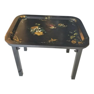 Antique Scottish Hand Painted Tole Tray Table on Ebonized Chinoiserie Style Base For Sale